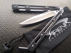 Beginner Budget Friendly Balisong Butterfly Knife with Grippy Handle Scales Skeleton Frame