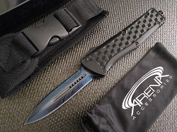 Blue Double Edge Blade OTF Automatic Pocket Knife 3D Cube Handle & Feather Etched with Deep Carry Pocket Clip & Glass Breaker
