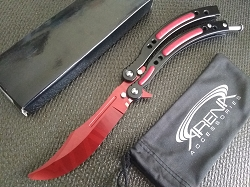 Counter Strike CSGO Practice Balisong Butterfly Knife Curved Handle Trainer with Red Tiger Stripe Dull Blade