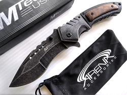 Kukri Spring Assisted Knife Stonewash & Burl Wood EDC 6.7 oz  with Deep Carry Pocket Clip ALL METAL