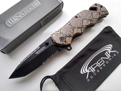 Snake Skin Pocket Knife Assisted Open 1065 Surgical Stainless Brown Rattlesnake Python Tanto