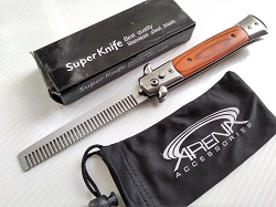 Godfather Stiletto Automatic Switchblade Barber Beard Comb with Brown Wood Handle and Stainless Steel Construction