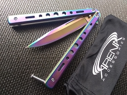 Good Beginner Rainbow Titanium Balisong Butterfly Knife Heavy Duty with Skeletonized Handle Scales & Blood Groove