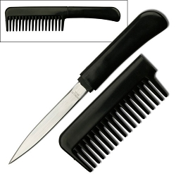 Concealed Carry Hair Comb with Hidden Fixed Blade Knife Handle for Self Defense or Utility - Black