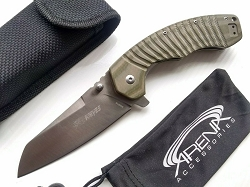 SR Knives 601A Big Pocket Knife Deep Tip Up Carry Clip G10 Green Brown Handle Flipper