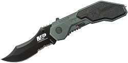 Smith & Wesson MAGIC Spring Assisted Pocket Knife Flipper Serrated Scooped Back EDC
