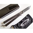 Stonewashed Tanto Blade Butterfly Knife Balisong Heavy Duty Double Walled Stainless Steel Frame