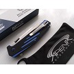 MTech Evolution D2 Steel Button Lock Flipper Pocket Knife Fidget-Friendly Black & Blue G10 4.4 oz EDC