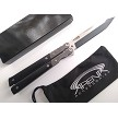 Gentleman's Tanto Balisong Butterly Knife Live Blade with Black & Stonewashed Handles