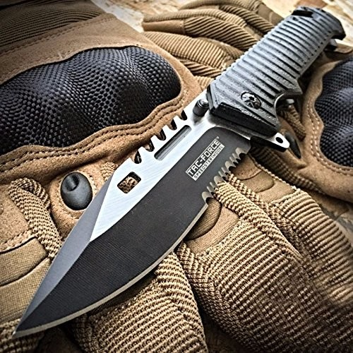 Tactical Sawback Pocket Knife Glass Breaker Spring Assisted Aluminum Handle EDC