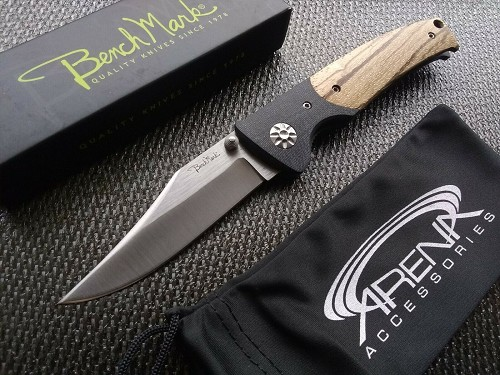 Benchmark Thin Wood Handle G10 Bolster Pocket Knife Manual EDC Folder with Dual Thumbstuds