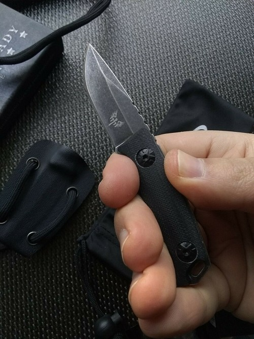 Combat Ready Knives 106 Compact Mini Concealed Carry Fixed Blade Neck Knife Stonewash Kydex Sheath Small G10 Scales