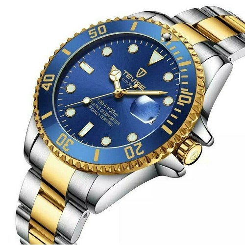 TEVISE Blue & Gold Submariner Homage Men's Automatic Mechanical Wrist Watch Diver 43mm Dial