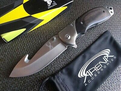 Hunters Black Wood Handle Gut Hook Pocket Knife Deep Carry Clip Assist Open EDC