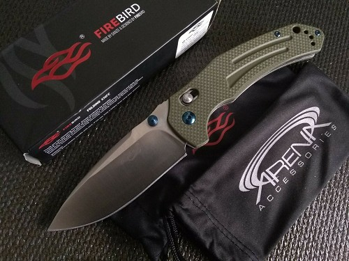 F7611-GR Ganzo Firebird Axis Lock EDC Pocket Knife Green G10 440C Stainless Steel Tip Up Carry