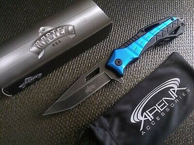 Emergency Glass Breaker Rescue Tool Pocket Knife Blue Spring Assisted Open Tanto Mens & Womens EDC