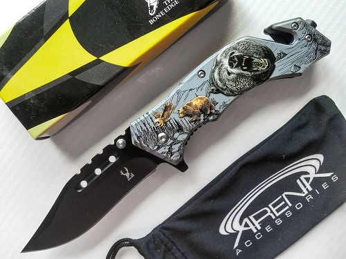 Grizzly Bear Pocket Knife Stonewash Liner Lock Assisted Opening EDC Flipper Blade Gift