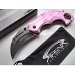 Womens Pink All Metal Spring Assisted Karambit Pocket Knife Girls Ladies Wartech EDC