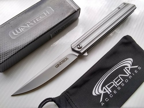 Wartech Slim Design Gunmetal Gray Pocket Knife Spring Assisted FrameLock Flipper EDC