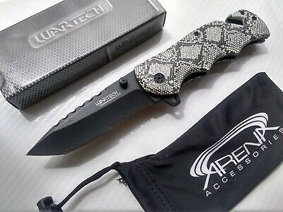 WarTech Python Snake Skin Pocket Knife Assisted Open 1065 Surgical Stainless Rattlesnake
