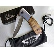 The Bone Edge Burl Wood Handle Spring Assisted Pocket Knife with Paracord Lanyard EDC