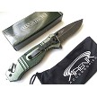 Green WarTech Glass Breaker Pocket Knife Stonewash Spring Assist Flipper Metal EDC Tool