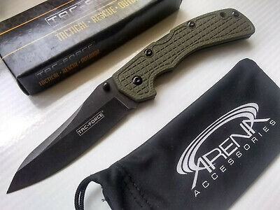 Tac-Force Slim Design Lockback Manual Pocket Knife Stonewashed Blade Green G10 Handle EDC