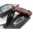 MTech Pakkawood Handle Spring Assisted Pocket Knife Partially Serrated Black Blade EDC