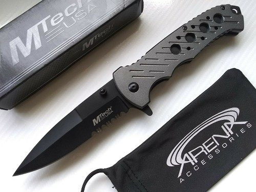MTech Gray Ballistic Spring Assist Partially Serrated Pocket Knife Skeletonized Handle EDC