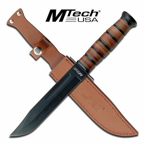 MTech USMC Marine Military Fixed Blade Big Bowie Survival Knife Leather Handle & Sheath