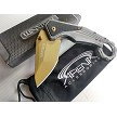 Gold Karambit Finger Hole Ring Tanto FrameLock Spring Assisted G10 Pocket Knife
