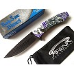 Dark Side Purple Howling Wolf Wild Dog Spring Assisted Full Moon Pocket Knife Flipper EDC
