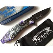 Purple Howling Wolf Wild Dog Spring Assisted Full Moon Pocket Knife Flipper EDC