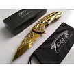 MTech Gold Ti Coated Fiery Flames Hot Rod All Metal Spring Assisted Pocket Knife EDC