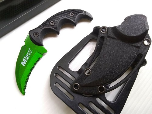 MTech Hulk Green Concealed Carry Hawkbill Karambit Fixed Blade Knife Paddle Holster EDC