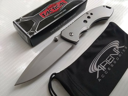 Razor Tactical All Metal Silver Ti Coated Spring Assisted Pocket Knife Frame Lock Flipper EDC