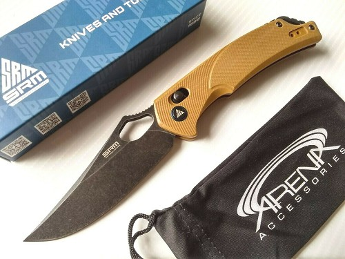 Sanrenmu 9202 D2 Tool Steel Stonewashed Pocket Knife Blade Brown G10 Axis Lock EDC
