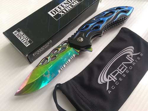 Defender Xtreme Rainbow Ti Coated Fiery Flames Hot Rod All Metal Spring Assisted Pocket Knife EDC