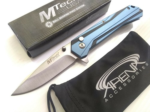 MTech Blue Manual Button Lock Pocket Knife Satin Blade Anodized Aluminum Handle EDC