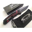 MTech Red Manual Button Lock Pocket Knife Fine Blade Anodized Aluminum Handle EDC