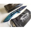 MTech Blue Ti Wharncliffe Ball Bearing Pivot Manual Open Pocket Knife Frame Lock EDC