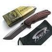 Wood Buckshot Japanese Katana Tanto Spring Assisted Pocket Knife w/Blue Ti Accents EDC