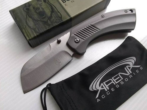 Buckshot Gray Ti Handle Sheepsfoot Cleaver Folding Pocket Knife Front Flipper EDC