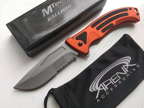 MTech Orange & Black Partially Serrated Spring Assisted Pocket Knife Flipper EDC Liner Lock