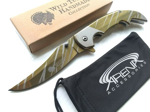 CSGO Snake Eye Gold Ti Tiger Stripe Upswept Curve Blade Spring Assisted Pocket Knife EDC