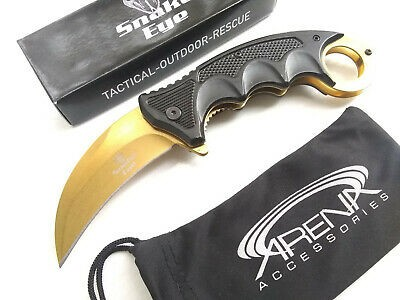 Snake Eye Tactical CSGO Gold Ti Blade Spring Assisted Karambit Hawkbill Pocket Knife EDC Finger Ring