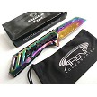 Snake Eye Tactical Rainbow Ti All Metal Sheepsfoot Cleaver Blade Assisted Pocket Knife Frame Lock EDC