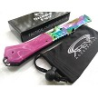 Snake Eye Tactical Rainbow Ti Sheepsfoot Cleaver Blade Assisted Pocket Knife Frame Lock Purple Swirl Flipper EDC