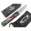Snake Eye Tactical Green Oriental Katana Birds Spring Assisted Pocket Knife Damascus Etch Tanto Blade EDC