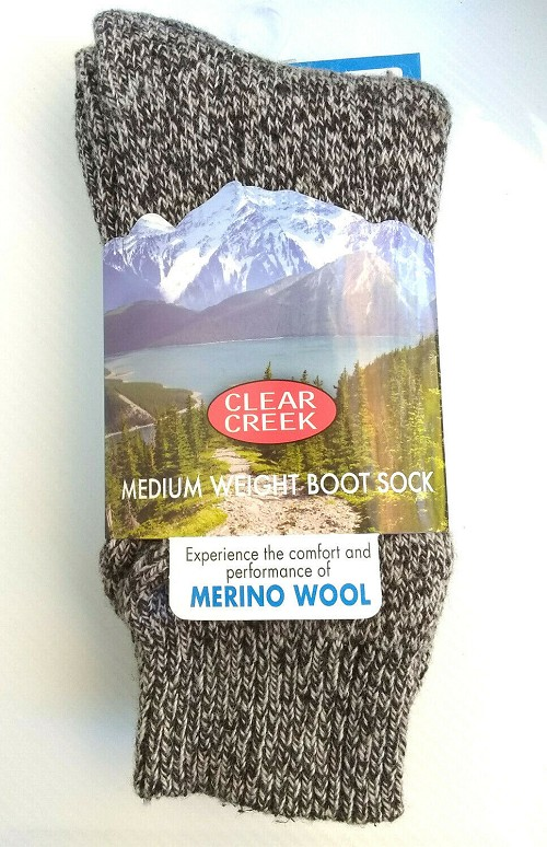 Brown Clear Creek Men's Winter/Hiking Thick Boot Socks Merino Wool Foot Sz. 6-12